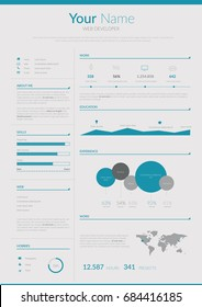 Resume Infographic CV. Vector illustration