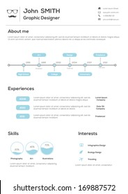 Resume. With Infographics and Timeline. Vector Illustration