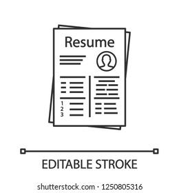 Resume linear icon. Thin line illustration. CV. Curriculum vitae. Personal information. Contour symbol. Vector isolated outline drawing. Editable stroke
