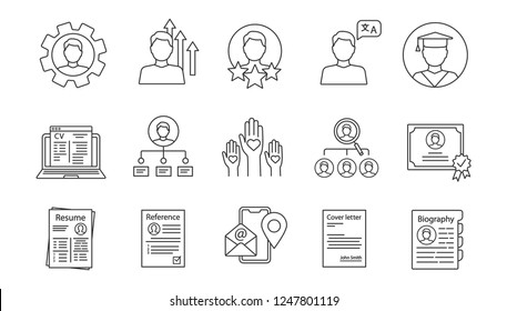 Resume linear icons set. Professional skills, education, experience, abilities. Employment. Headhunting, recruitment. CV, cover, reference letters. Isolated vector illustrations. Editable stroke