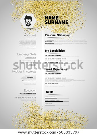 resume minimalist cv in gold glitter style resume template with simple design company application