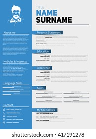 Resume Minimalist CV, Resume template with simple design, company application CV, Curriculum vitae, resume business sheet, clean employer resume