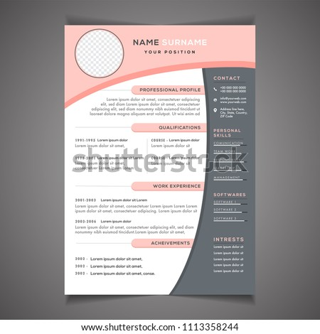Resume Template Can Be Use Letterhead Stock Vector Royalty Free