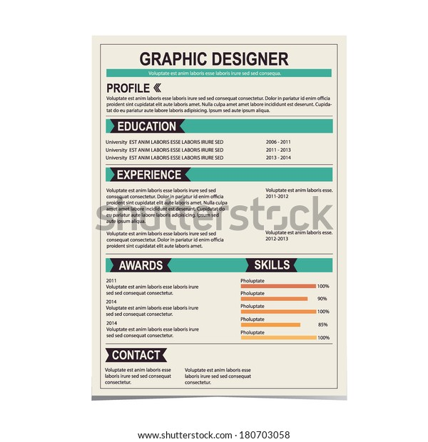 Resume Template Cv Creative Background Vector Stock Vector Royalty Free 180703058