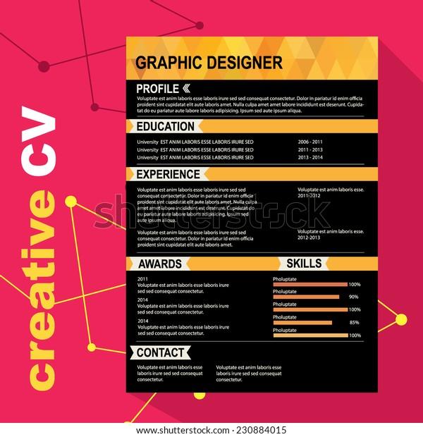 Resume Template Cv Creative Background Vector Stock Vector Royalty Free 230884015