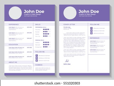 Resume template for graphic and web design