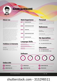 Resume template, Minimalist cv, Vector design