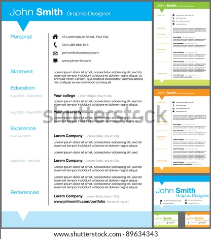 Resume Templates Vector Stock Vector Royalty Free 89634343
