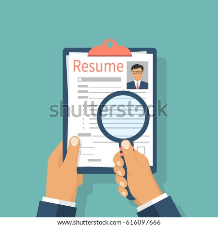 Resumes Hand CV Application Selecting Staff Stock Vector (Royalty ...
