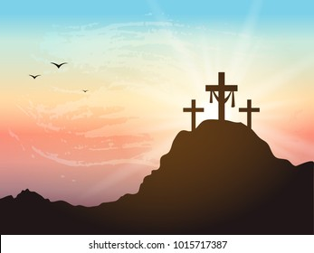 Resurrection background with sun rays.