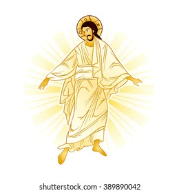 Resurrection of Jesus with a heavenly light