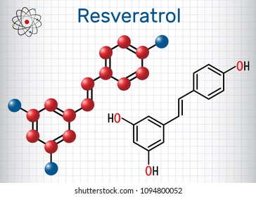 Resveratrol molecule. It is natural phenol, phytoalexin, antioxidant. Structural chemical formula and molecule model. Sheet of paper in a cage. Vector illustration