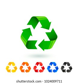 Resycle icons set. Waste sorting, segregation. Different colored recycle signs. Waste management concept. Separation of garbage for recycling metal plastic paper glass organic. Vector illustration