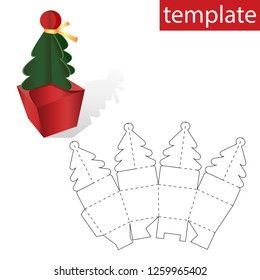 Retail Box with Template. Christmas tree template on the box with gifts.Vector graphics