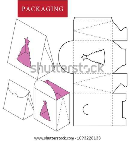 Retail Box Template Christmas Concept Stock Vector Royalty Free