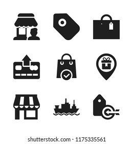 retail icon. 9 retail vector icons set. shop, merchant ship and store icons for web and design about retail theme