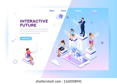 Retail and lifestyle at store. Social city of the future. Screen, interactive future phone innovation. Experience of work, learning or entertaining on augmented reality. Flat isometric illustration