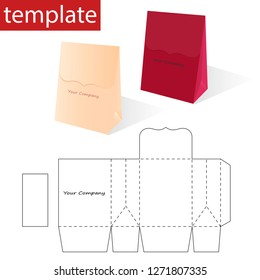 Retail Paper Bag with Blueprint Template. Vector graphics