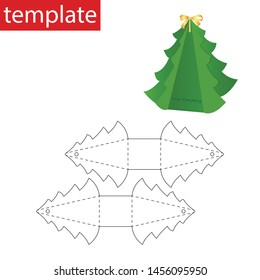 Retail paper box with die cut template. Christmas tree