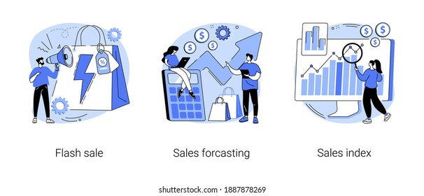 Retail profit plan abstract concept vector illustration set. Flash sale, sales forcasting and index, special offer, e-commerce shop promotion, business statistics, performance abstract metaphor.