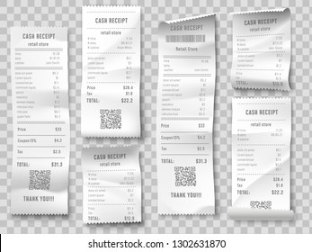 Retail purchase bill. Supermarket shopping receipt, sum invoice check and total cost store sale paper. Payment invoice bills receipts, retail purchase blank. Isolated vector icons set