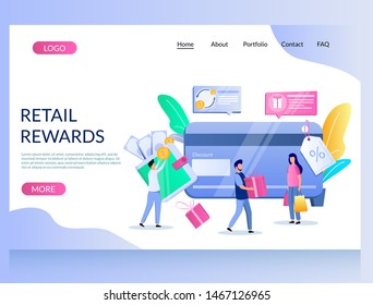 Retail rewards vector website template, web page and landing page design for website and mobile site development. Customer reward loyalty program, earn bonuses, points, gift cards for online purchases