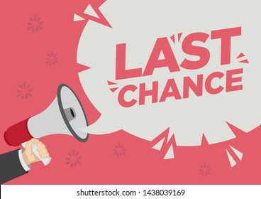 Retail Sale promotion shoutout of last chance with a megaphone speech bubble against a red background. Concept of sales, consumerism or marketing. Flat vector illustration.