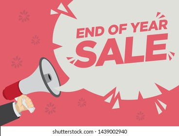 Retail Sale promotion shoutout with a megaphone speech bubble against a red background. Concept of sales, consumerism or marketing. Flat vector illustration.