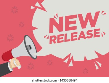 Retail Sale promotion shoutout of new release with a megaphone speech bubble against a red background. Concept of sales, consumerism or marketing. Flat vector illustration.
