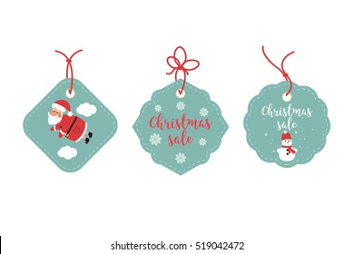 Retail Sale Tags and Clearance Tags. Festive christmas design. Santa Claus, snowflakes and snowman.