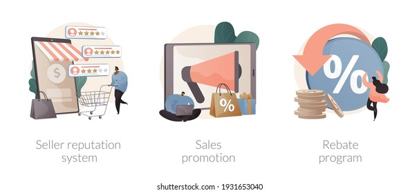 Retail sales strategy abstract concept vector illustration set. Seller reputation system, sales promotion, rebate program, advertising campaign, top rated product, discount coupon abstract metaphor.