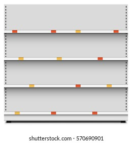 Retail store empty selves rack section with color price tags vector template. May be copied horizontally.