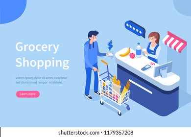 Retail woman cashier with barcode scanner and customer with purchases.Can use for web banner, infographics, hero images. Flat isometric vector illustration isolated on white background.