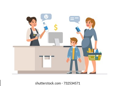 Retail woman cashier with barcode scanner and family with purchases. Family shopping in supermarket and paying with card.  Flat style vector illustration, isolated on white background.