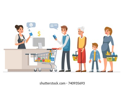 Retail woman cashier with barcode scanner and line of customers. Flat style vector illustration isolated on white background.