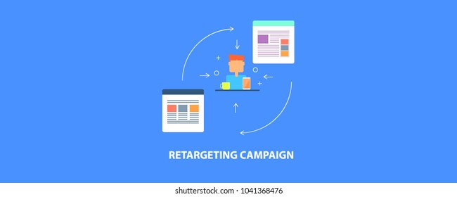 Re-targeting campaign - audience targeting - business re-marketing flat vector conceptual banner