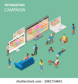 Retargeting campaign flat isometric vector concept. People around all types of devices for internet access with the same advertising banners.