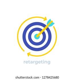 retargeting, digital marketing concept vector icon
