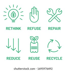 Rethink, Refuse, Repair, Reduce, Reuse, Recycle green icon set. Ecology, zero waste, sustainability,  nature protection, eco friendly concept.