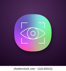 Retina scan app icon. Iris recognition. Eye scanning. UI/UX user interface. Biometric identification. Optical recognition. Web or mobile application. Vector isolated illustration