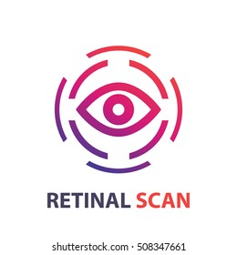 retina scan icon, logo on white, eye scanner, biometric recognition system