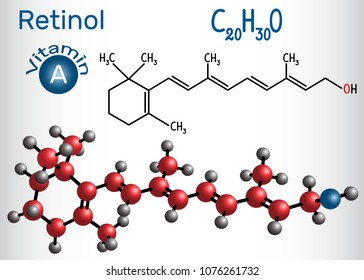 Retinol, vitamin A, is in food and is used as a dietary supplement. Structural chemical formula and molecule model. Vector illustration