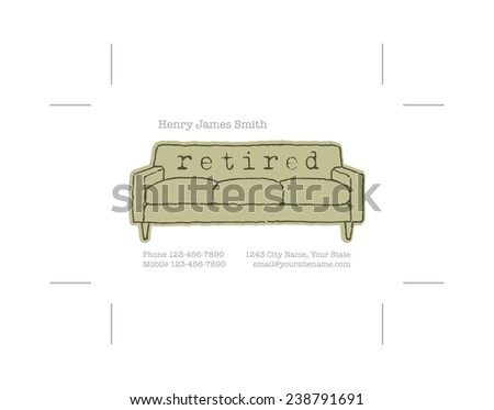 Retired Business Card Crop Marks Stock Vector Royalty Free