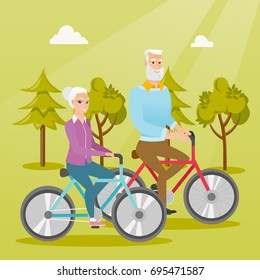 Retired caucasian couple riding bikes in the park. Senior man and woman riding bicycles in the park. Active senior couple enjoying walk with bicycles. Vector cartoon illustration. Square layout.