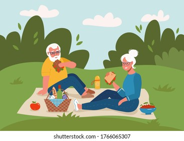 Retired couple having picnic with wine and sandwiches outdoors, sitting on a park lawn. Long active life, happy retirement, family vacation and leisure concept. Flat style vector sketch illustration.