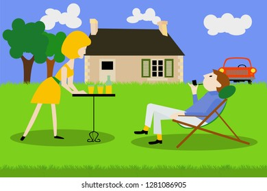 a retired couple is resting in the garden