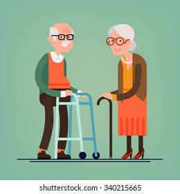 Retired elderly senior age couple in creative flat vector character design | Grandpa and grandma standing full length smiling | Grandparents with walking stick and paddle walker isolated