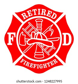 Retired Firefighters Emblem St Florian Maltese Cross Red with White Outline