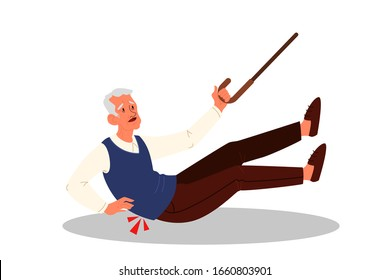 Retired men falling down. Elderly person with cane on the floor. Pain and injury. Vector illustration in cartoon style