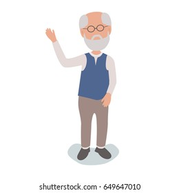 Retired Pensioner Elderly Man Waving - vector characters body parts grouped and easy to edit - limited palette